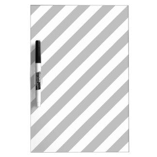 Gray and White Diagonal Stripes Pattern Dry Erase Board