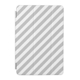 Gray and White Diagonal Stripes Pattern iPad Mini Cover
