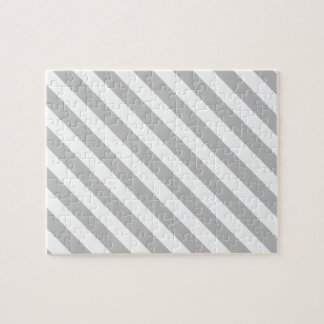 Gray and White Diagonal Stripes Pattern Jigsaw Puzzle