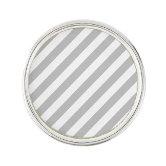 Gray and White Diagonal Stripes Pattern Lapel Pin