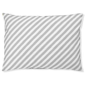 Gray and White Diagonal Stripes Pattern Large Dog Bed