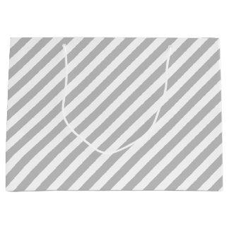 Gray and White Diagonal Stripes Pattern Large Gift Bag