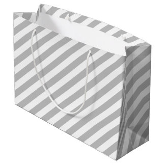 Gray and White Diagonal Stripes Pattern Large Gift Bag