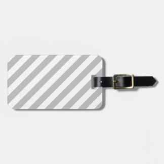 Gray and White Diagonal Stripes Pattern Luggage Tag