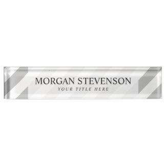 Gray and White Diagonal Stripes Pattern Nameplate
