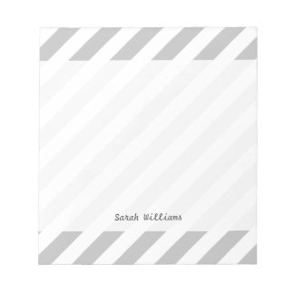 Gray and White Diagonal Stripes Pattern Notepad