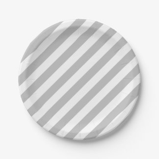 Gray and White Diagonal Stripes Pattern Paper Plate