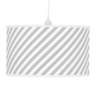 Gray and White Diagonal Stripes Pattern Pendant Lamp