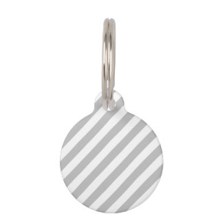 Gray and White Diagonal Stripes Pattern Pet ID Tag