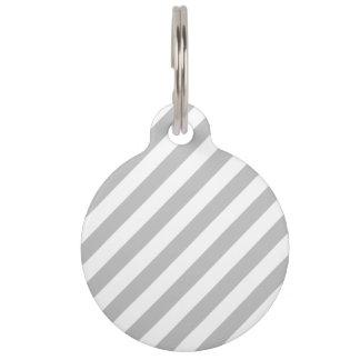 Gray and White Diagonal Stripes Pattern Pet Tag