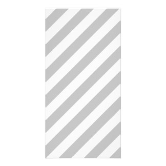 Gray and White Diagonal Stripes Pattern Photo Greeting Card