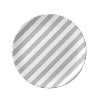 Gray and White Diagonal Stripes Pattern Plate
