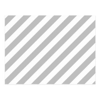 Gray and White Diagonal Stripes Pattern Postcard