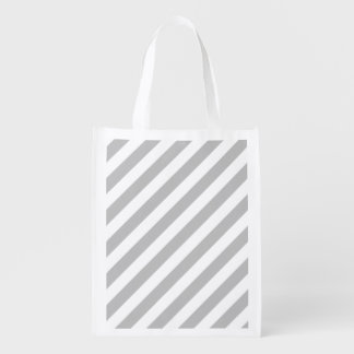 Gray and White Diagonal Stripes Pattern Reusable Grocery Bag