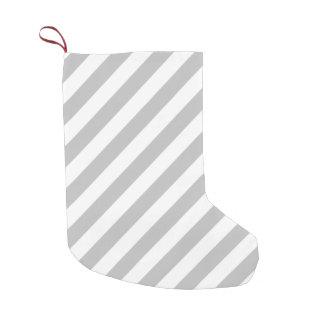 Gray and White Diagonal Stripes Pattern Small Christmas Stocking