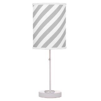 Gray and White Diagonal Stripes Pattern Table Lamp