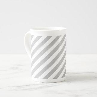 Gray and White Diagonal Stripes Pattern Tea Cup