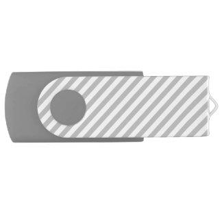 Gray and White Diagonal Stripes Pattern USB Flash Drive