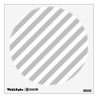 Gray and White Diagonal Stripes Pattern Wall Sticker