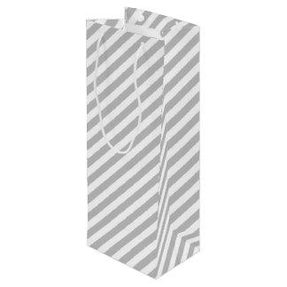 Gray and White Diagonal Stripes Pattern Wine Gift Bag