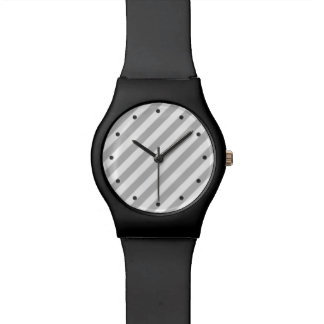 Gray and White Diagonal Stripes Pattern Wrist Watches