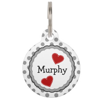 Gray and White Dots and Hearts Pet Tag
