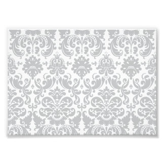 Gray and White Elegant Damask Pattern Photo Print