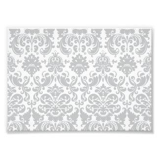 Gray and White Elegant Damask Pattern Photo Print