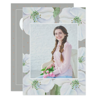Gray and White Floral Photo Graduation Party Card