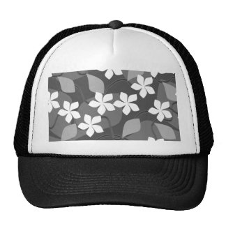 Gray and White Flowers. Floral Pattern. Mesh Hat