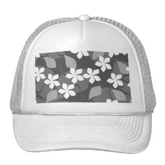 Gray and White Flowers. Floral Pattern. Hat