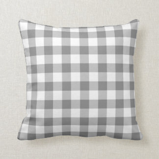 Gray And White Gingham Check Pattern Throw Pillow