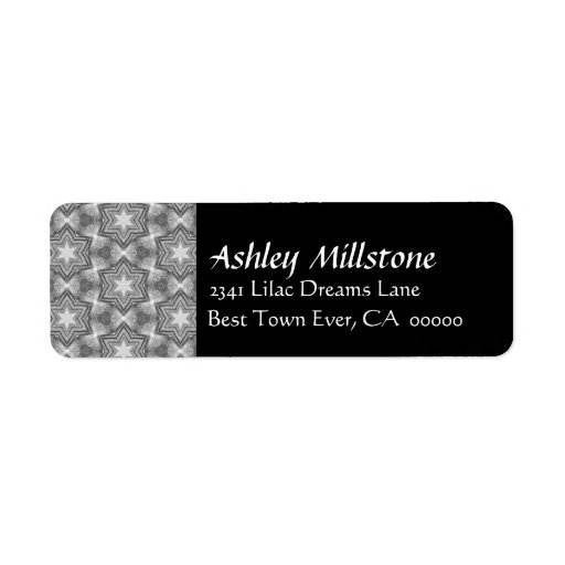 Gray and White Grunge Stars Black Address Label