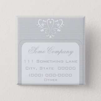 Gray And White Heart Damask 2 Inch Square Button