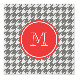 Gray and White Houndstooth Coral Monogram Perfect Poster