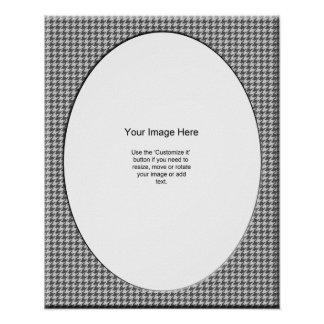 Gray and White Houndstooth Photo Template Poster