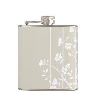 Gray and White Japanese Floral Hip Flask
