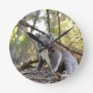 Gray and White Koala Bear Round Clock