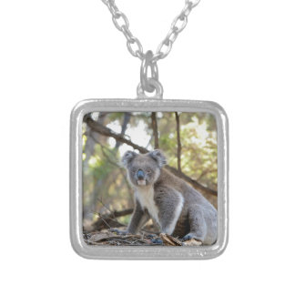 Gray and White Koala Bear Silver Plated Necklace