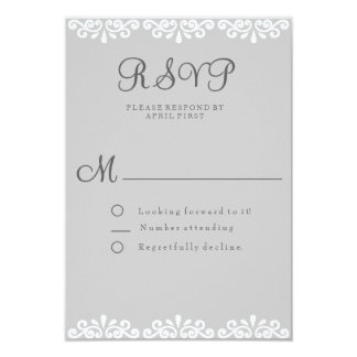 Gray and White Lace Elegant and Romantic RSVP Card