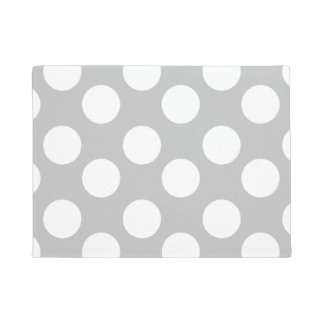 Gray and White Large Polka Dot Doormat