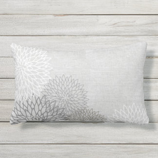 Gray and White Linen Flowers Outdoor Pillow