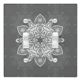 Gray and White Mandala | Light Switch Cover