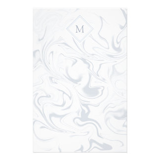 Gray and White Marble look with Diamond Monogram Stationery
