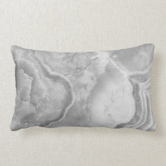 Gray And White Marble Stone Pattern Lumbar Pillow