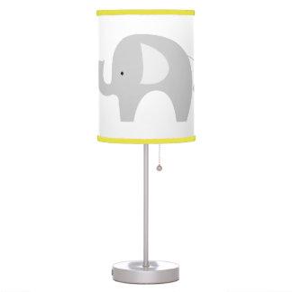 Gray and White Mod Elephant Nursery Lamp Yellow