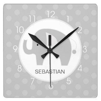 Gray and White Mod Elephant Wall Clock