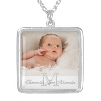 Gray and White Monogram with Photo Gift Necklace