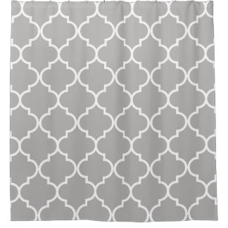 Gray and White Moroccan Trellis Quatrefoil