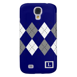 Gray And White On Blue Argyle iPhone3 Case
